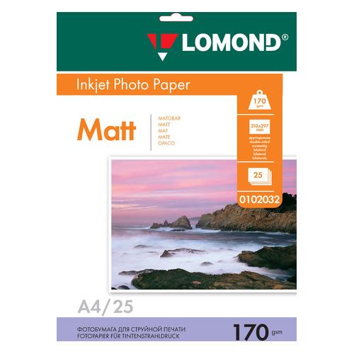 Фотобумага Lomond 0102032 A4/170г/м2/25л./белый матовое/матовое для струйной печати бумага фото lomond а4 суперглянец 20л 170г м2 одностор