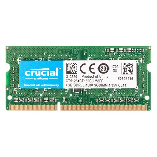 Модуль памяти CRUCIAL CT51264BF160BJ DDR3L - 4Гб 1600, SO-DIMM, Ret  - купить со скидкой