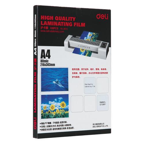 Фото - Пленка для ламинирования DELI E3816, 80мкм, 216х303 мм, 100шт., глянцевая, A4 пленка для ламинирования office kit 70x100мм 80мкм 100шт глянцевая plp70 100 80