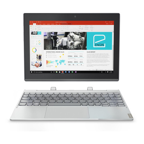 Планшет LENOVO MiiX 320-10ICR, 4GB, 64GB, Windows 10 серебристый [80xf007urk] планшет lenovo miix 320 10icr atom x5 z8350 1 44 4c ram2gb rom32gb 10 1 1920x1080 windows 10 серебристый 5mpix 2mpix bt wifi