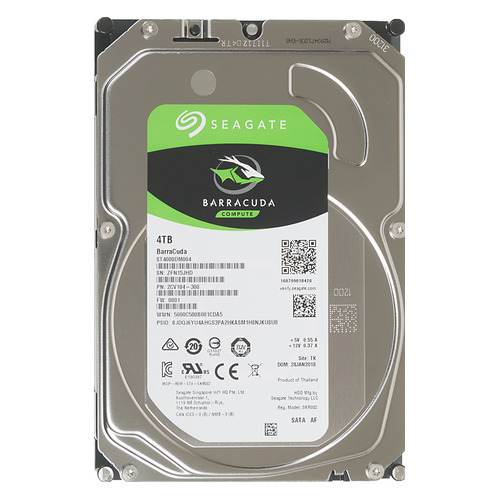 "Жесткий диск SEAGATE Barracuda ST4000DM004, 4Тб, HDD, SATA III, 3.5"" жесткий диск seagate barracuda st4000dm004 4тб hdd sata iii 3 5"