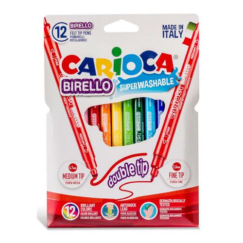 Фломастеры Carioca BIRELLO 42753 двусторонние 12цв. блистер картонный 24 шт./кор. фломастеры carioca bi color 42269 12цв двусторонние 6шт 24 шт кор