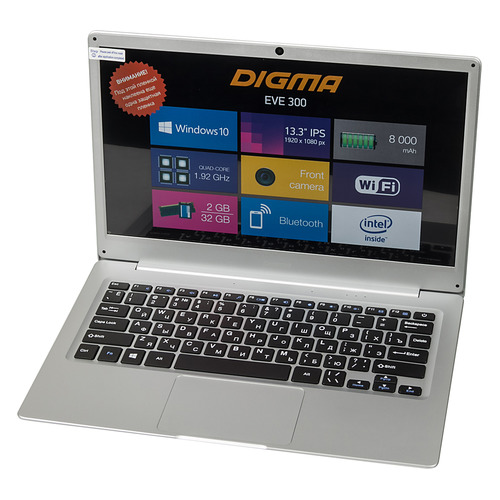 Ноутбук DIGMA EVE 300, 13.3, IPS, Intel Atom X5 Z8350 1.44ГГц, 2Гб, 32Гб SSD, Intel HD Graphics 400, Windows 10 Home, ES3004EW, серебристыйНоутбуки<br>экран: 13.3quot;;  разрешение экрана: 1920х1080; тип матрицы: IPS; процессор: Intel Atom X5 Z8350; частота: 1.44 ГГц (1.92 ГГц, в режиме Turbo); память: 2048 Мб; SSD: 32 Гб; Intel HD Graphics 400; WiFi;  Bluetooth;  WEB-камера; Windows 10 Home