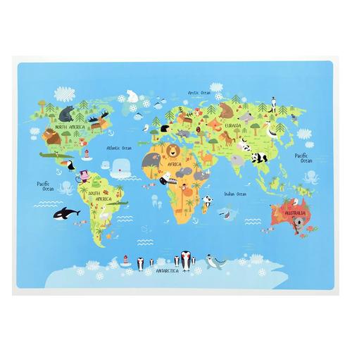 Накладка на стол Silwerhof 671614 Животный мир 330х460мм пластик 1мм 10 шт./кор. животный мир на английском 16 обучающих карточек