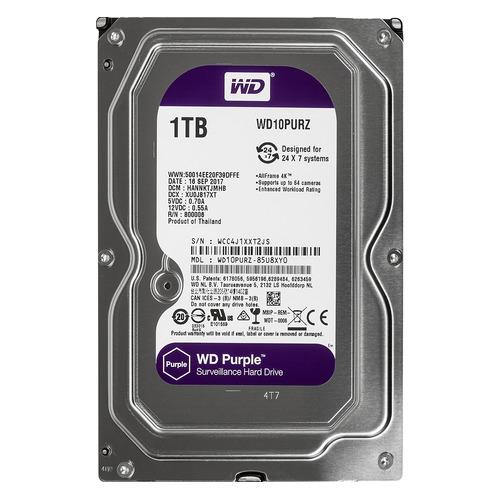 Жесткий диск WD Purple WD10PURZ, 1Тб, HDD, SATA III, 3.5 жесткий диск wd blue wd10ezrz 1тб hdd sata iii 3 5