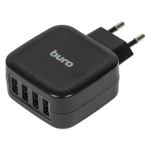 Сетевое зарядное устройство BURO TJ-286B Smart, 4xUSB, 5A, черный зарядное
