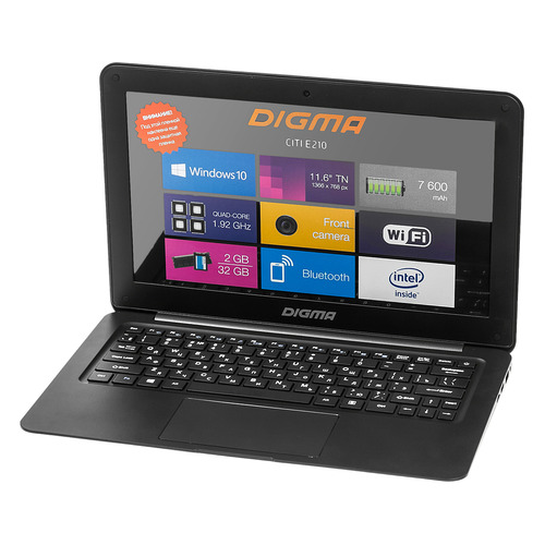 Ноутбук DIGMA CITI E210, 11.6, Intel Atom X5 Z8350 1.44ГГц, 2Гб, 32Гб SSD, Intel HD Graphics 400, Windows 10 Home, ET2005EW, черный ноутбук digma citi e202 atom x5 z8350 11 6 4 32 dvd нет intel hd graphics 400 win 10home multi language 64 чёрный