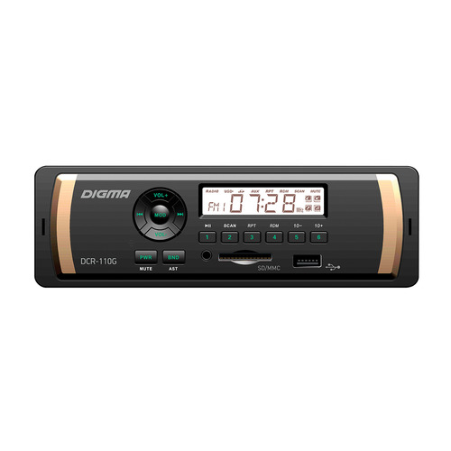 Автомагнитола DIGMA DCR-110G, USB, SD/MMC 7060b 7 inch 12v auto 2 din bluetooth tft screen car audio stereo mp3 mp4 mp5 player support aux fm usb sd mmc
