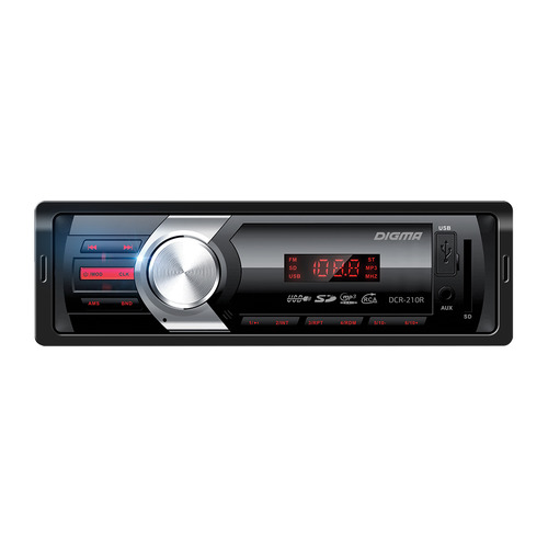 Автомагнитола DIGMA DCR-210R, USB, SD/MMC тюнер цифровой dvb t2 d color dc1002hd hdmi usb черный