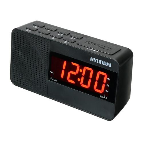 лучшая цена Радиобудильник HYUNDAI H-RCL200, красная подсветка, черный