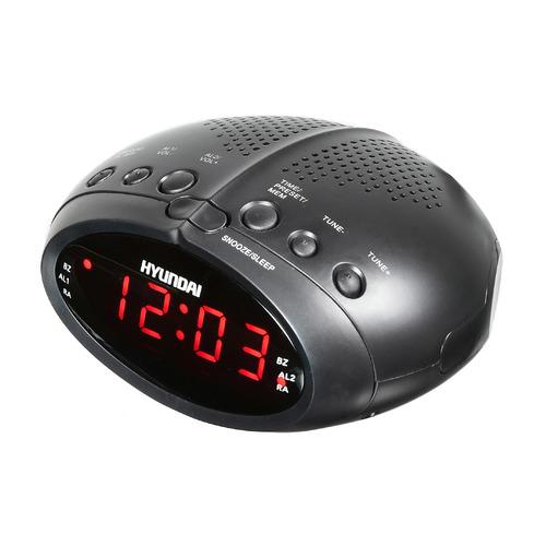 Радиобудильник HYUNDAI H-RCL220, красная подсветка, черный цена и фото
