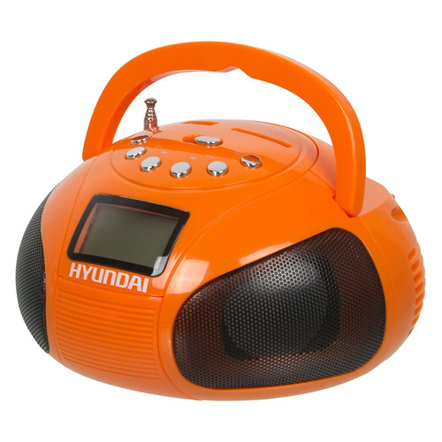 Аудиомагнитола HYUNDAI H-PAS120, оранжевый аудиомагнитола telefunken tf srp3503b серый 6вт mp3 fm dig usb bt sd
