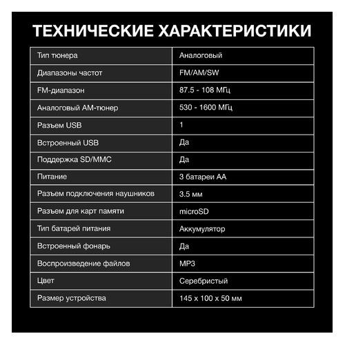 Радиоприемник HYUNDAI H-PSR160, серебристый usb тв тюнер аналоговый