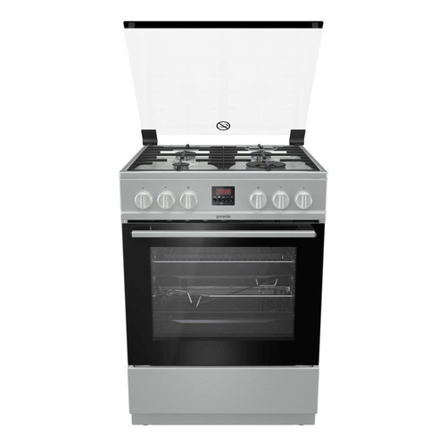 Газовая плита GORENJE GI6322XA, газовая духовка, стеклянная крышка, нержавеющая сталь газовая плита gorenje gi5121wh газовая духовка белый