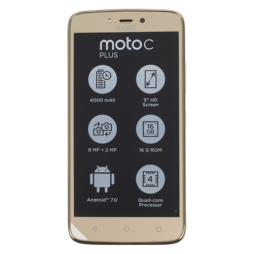 Смартфон MOTOROLA C Plus 16Gb, XT1723, золотистый смартфон motorola moto c plus xt1723 5 hd ips 1280х720 mediatek mt6737 1 3ghz 1gb 16gb 4g lte wifi bt sd 8mp android 7 0 whole gold