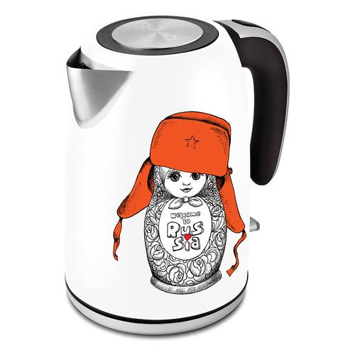 Чайник электрический POLARIS PWK 1815CA, 2000Вт, белый и рисунок