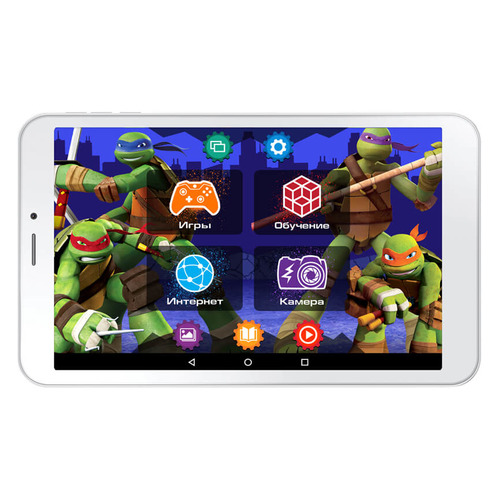все цены на Детский планшет TURBO TurboKids Черепашки-ниндзя 8Gb, Wi-Fi, 3G, Android 6.0, белый [рт00020469] онлайн