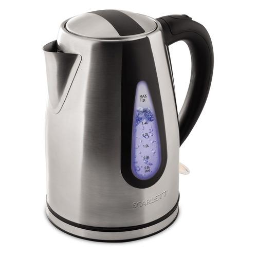 Чайник электрический SCARLETT SC-EK21S48, 2000Вт, серебристый и черный чайник электрический polaris pwk1792cgl wi fi 2000вт серебристый
