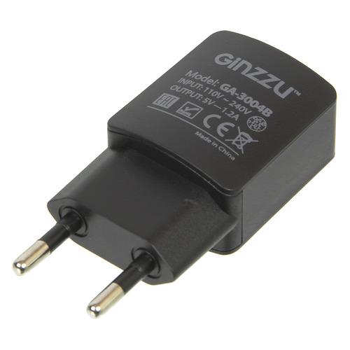 Сетевое зарядное устройство GINZZU GA-3004B, USB, microUSB, 1.2A, черный кабель canyon cne usbm1b microusb черный