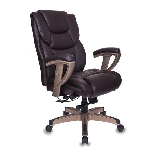Кресло руководителя БЮРОКРАТ T-9999, на колесиках, рециклированная кожа/кожзам, коричневый [t-9999/brown]