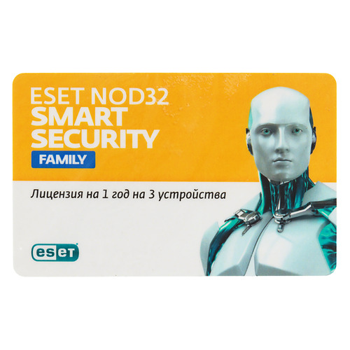 ПО Eset NOD32 Smart Security Family 3 устройства 1 год Card (NOD32-ESM-NS(CLCARD)-1-3)Антивирусы<br>