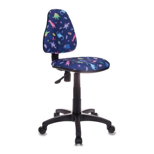 Кресло детское БЮРОКРАТ KD-4, на колесиках, ткань, синий [kd-4/dino-bl] kd 8 dino y