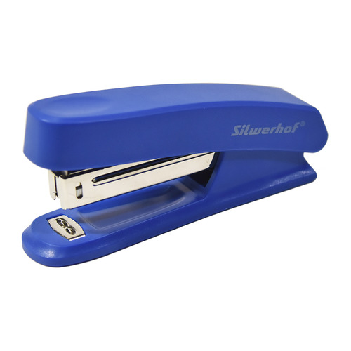 цена на Степлер Silwerhof 401072-02 N10 (12листов) синий пластик коробка 12 шт./кор.