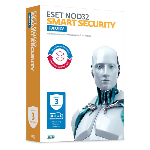 ПО Eset NOD32 Smart Security Family - лиц на 1год или прод на 20мес 3 устройства Box (NOD32-ESM-1220 по для сервиса м видео office 365 home eset smart security family 5у 1г