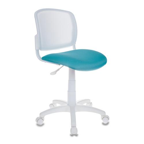 Фото - Кресло детское Бюрократ CH-W296NX, на колесиках, сетка/ткань, бирюзовый/белый [ch-w296nx/15-175] кресло бюрократ ch 296nx на колесиках сетка ткань бордовый [ch 296 dc 15 11]