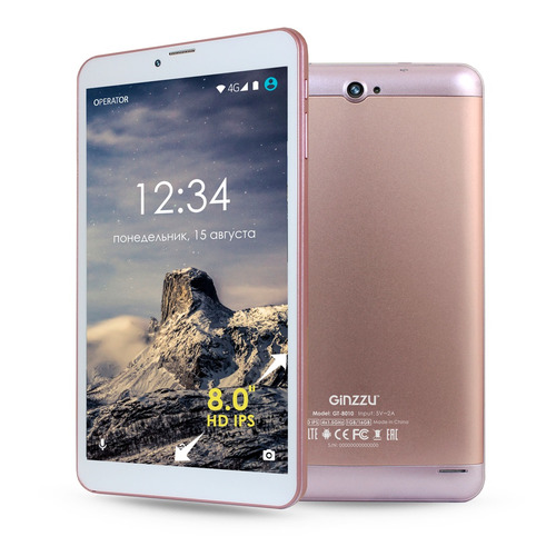 Планшет GINZZU GT-8010 rev.2, 1GB, 16GB, 3G, 4G, Android 6.0 розовый [00-00000928] монитор 27 aoc q2790pqu silver black с поворотом экрана ips led 2560x1440 4 ms 178° 178° 350 cd m 20m 1 hdmi