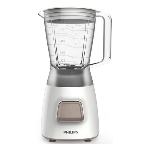 Блендер PHILIPS HR2052/00, стационарный, белый/серебристый блендер philips hr2872 00 стационарный белый красный