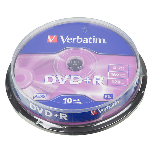 Фото - Оптический диск DVD+R VERBATIM 4.7Гб 16x, 10шт., cake box [43498] диски dvd r 4 7gb 16x photo printable verbatim