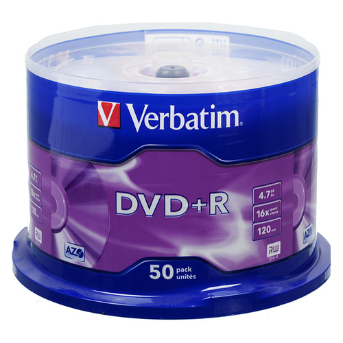 Фото - Оптический диск DVD+R VERBATIM 4.7Гб 16x, 50шт., cake box [43550] диски dvd r 4 7gb 16x photo printable verbatim
