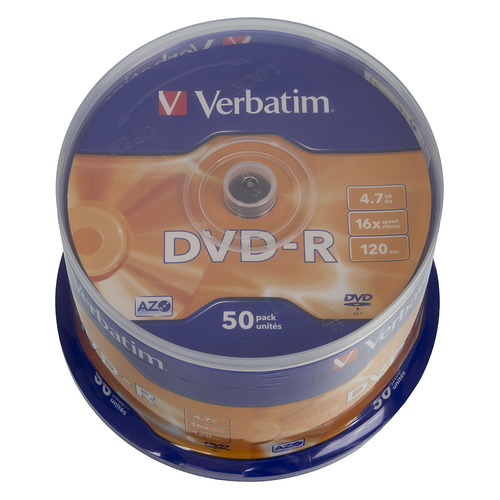 Фото - Оптический диск DVD-R VERBATIM 4.7Гб 16x, 50шт., cake box [43548] диски dvd r 4 7gb 16x photo printable verbatim