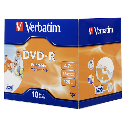 Оптический диск DVD-R VERBATIM 4.7Гб 16x, 10шт., jewel case, printable [43521] dvd blu ray