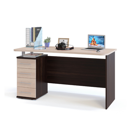 Стол компьютерный СОКОЛ КСТ-105.1, ЛДСП, белый дуб