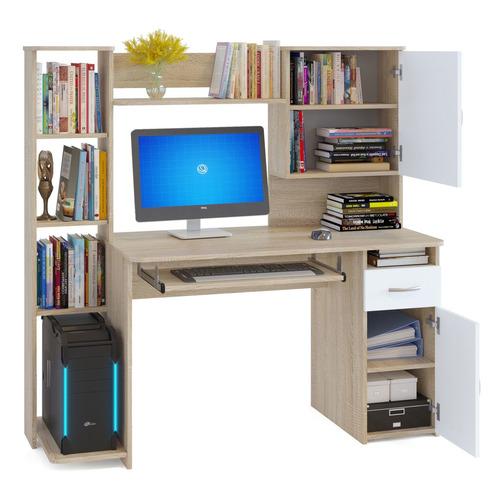 Стол компьютерный СОКОЛ КСТ11.1Дсб, ЛДСП, сонома и белый