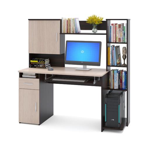 Фото - Стол компьютерный СОКОЛ КСТ11.1Вкб, ЛДСП, венге и беленый дуб стол компьютерный тд ная прямой кс 10 с иволга дуб беленый