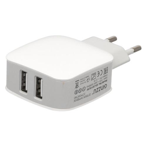 цена на Сетевое зарядное устройство GINZZU GA-3010UW, 2xUSB, 8-pin Lightning (Apple), 2.1A, белый