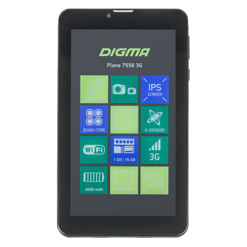 Планшет DIGMA Plane 7556 3G, 1GB, 16GB, 3G, Android 7.0 черный планшет digma plane 7556 3g 7 16gb black wi fi 3g bluetooth android ps7170mg