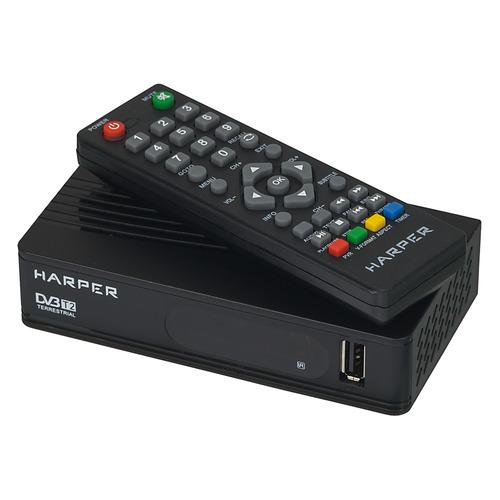 Ресивер DVB-T2 HARPER HDT2-1202, черный ресивер dvb t2 harper hdt2 5010 черный