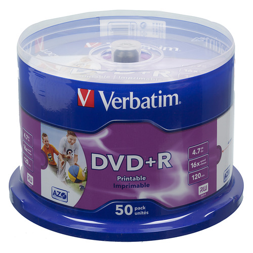 Оптический диск DVD+R VERBATIM 4.7Гб 16x, 50шт., cake box, printable [43512] dvd blu ray