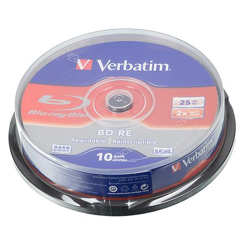 цена на Оптический диск BD-RE VERBATIM 25ГБ 2x, 10шт., cake box [43694]