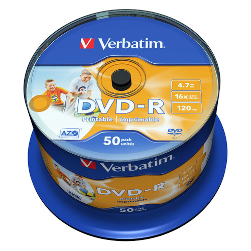 Фото - Оптический диск DVD-R VERBATIM 4.7Гб 16x, 50шт., cake box, printable [43533] диски dvd r 4 7gb 16x photo printable verbatim