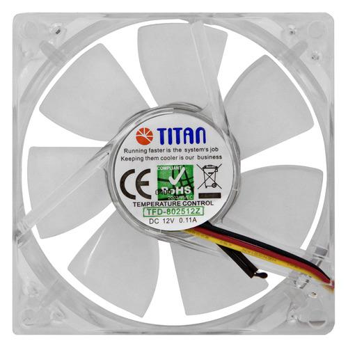Вентилятор TITAN TFD-C802512Z/TC(RB), 80мм, Ret вентилятор titan tfd c802512z tc rb 80x80x25 3pin 21 34db 1500 3300rpm 100g термодатчик