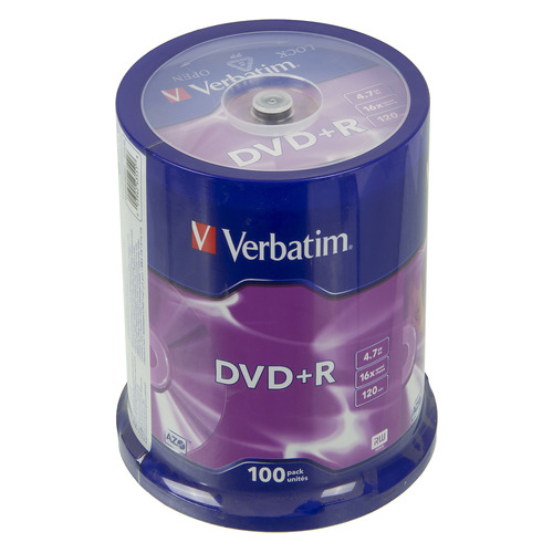 Фото - Оптический диск DVD+R VERBATIM 4.7Гб 16x, 100шт., cake box [43551] диски dvd r 4 7gb 16x photo printable verbatim