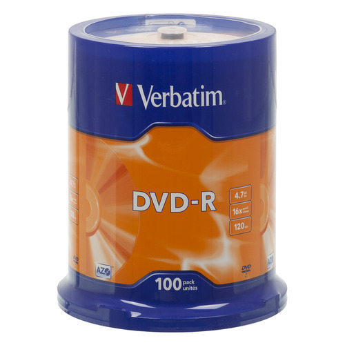 Фото - Оптический диск DVD-R VERBATIM 4.7Гб 16x, 100шт., cake box [43549] диски dvd r 4 7gb 16x photo printable verbatim