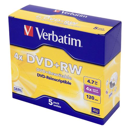 Оптический диск DVD+RW VERBATIM 4.7Гб 4x, 5шт., jewel case [43229] диски cd rw 700mb 8x 12x jewel high speed verbatim 10шт 43148