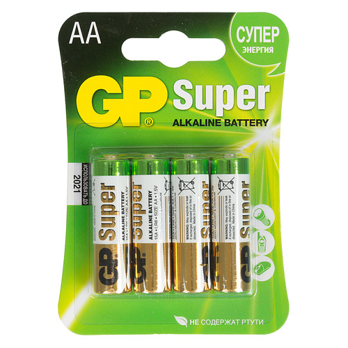 AA Батарейка GP Super Alkaline 15A LR6, 4 шт. aa батарейка gp super alkaline 15a lr6 2 шт