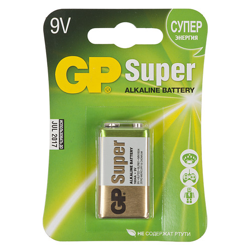 9V Батарейка GP Super Alkaline 1604A 6LR61, 1 шт. 550мAч батарейка алкалиновая gp batteries super alkaline тип крона 9v
